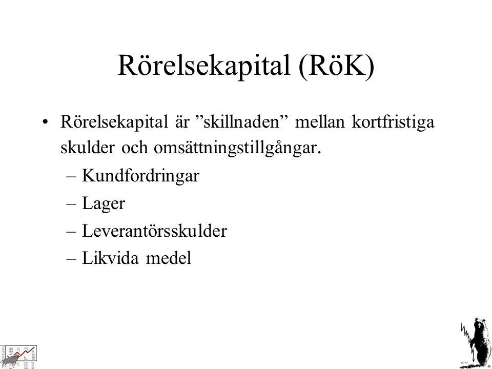 """Rörelsekapital (RöK) Rörelsekapital är """"skillnaden"""" mellan kortfristiga skulder och omsättningstillgångar. –Kundfordringar –Lager –Leverantörsskulder"""