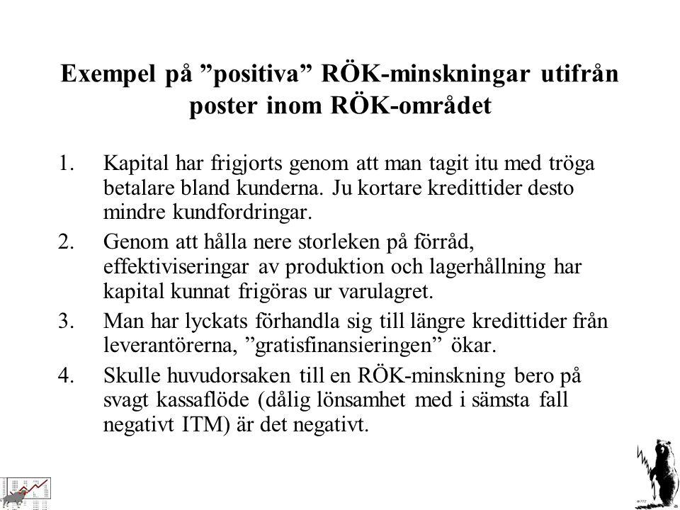 """Exempel på """"positiva"""" RÖK-minskningar utifrån poster inom RÖK-området 1.Kapital har frigjorts genom att man tagit itu med tröga betalare bland kundern"""