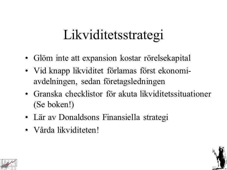 Likviditetsstrategi Glöm inte att expansion kostar rörelsekapital Vid knapp likviditet förlamas först ekonomi- avdelningen, sedan företagsledningen Gr