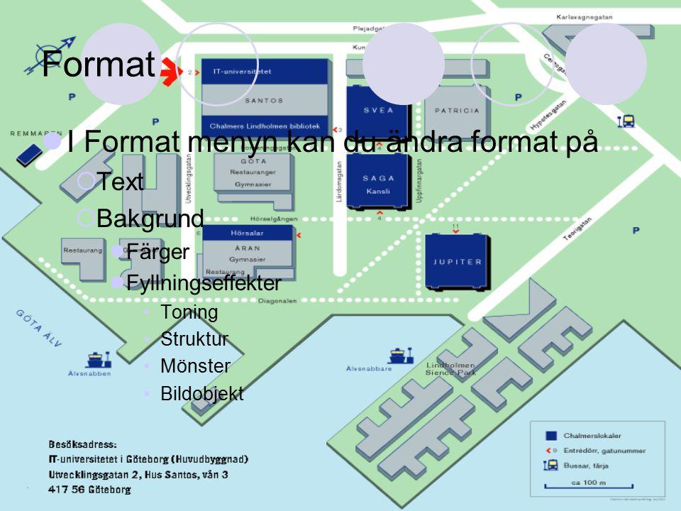 Format I Format menyn kan du ändra format på  Text  Bakgrund Färger Fyllningseffekter Toning Struktur Mönster Bildobjekt