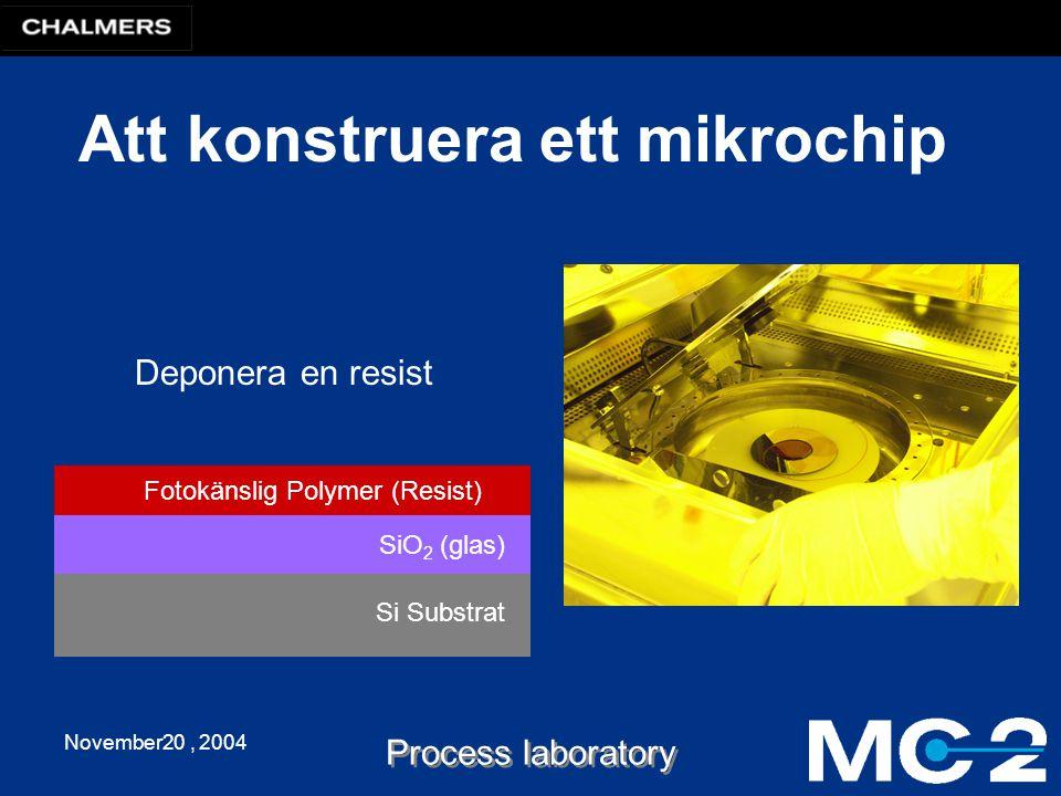 November20, 2004 Process laboratory Att konstruera ett mikrochip Si Substrat SiO 2 (glas) Fotokänslig Polymer (Resist) Deponera en resist