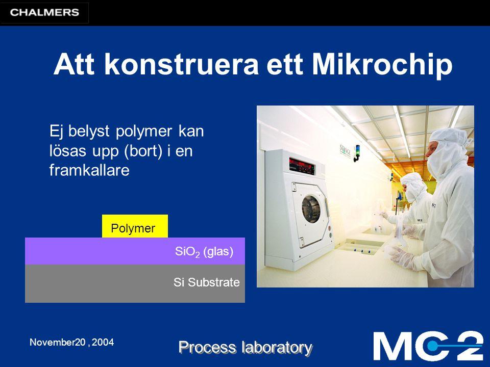 November20, 2004 Process laboratory Att konstruera ett Mikrochip Si Substrate SiO 2 (glas) Ej belyst polymer kan lösas upp (bort) i en framkallare Pol