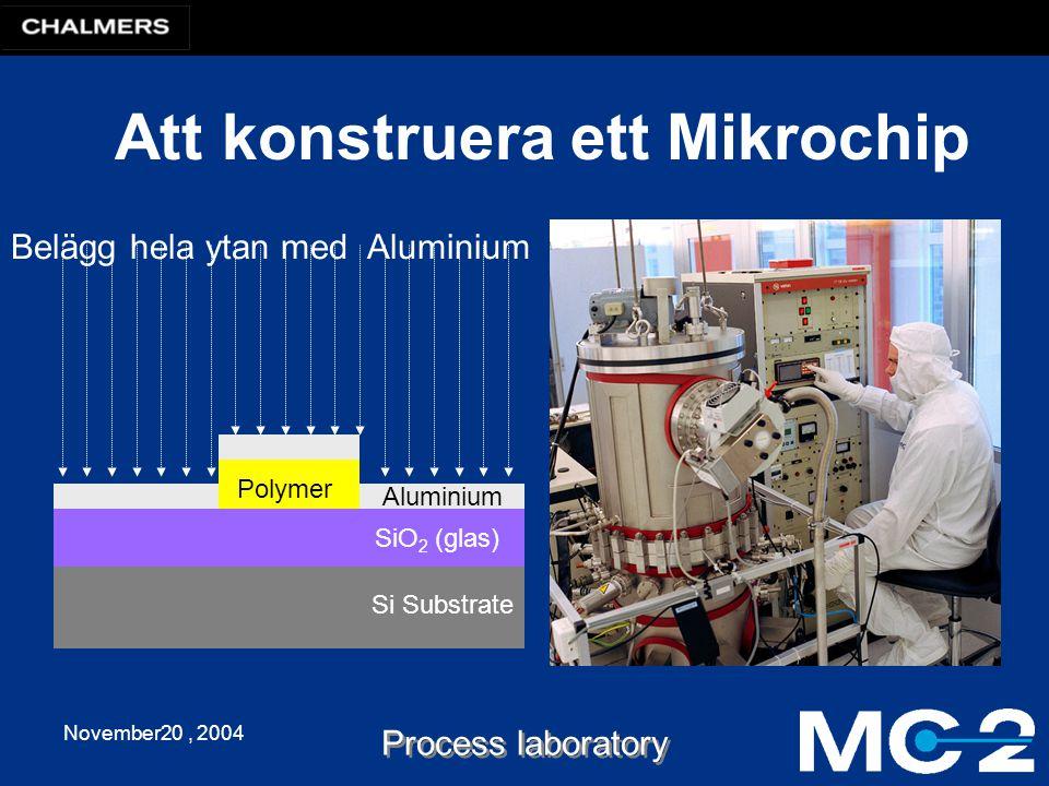 November20, 2004 Process laboratory Att konstruera ett Mikrochip Si Substrate Belägg hela ytan med Aluminium SiO 2 (glas) Polymer Aluminium