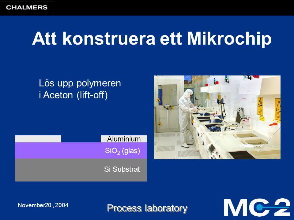 November20, 2004 Process laboratory Att konstruera ett Mikrochip Si Substrat Lös upp polymeren i Aceton (lift-off) SiO 2 (glas) Aluminium