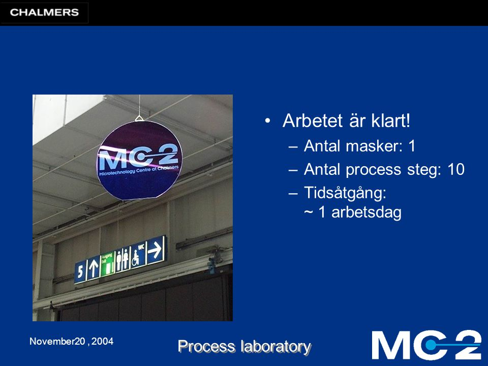 November20, 2004 Process laboratory Arbetet är klart.