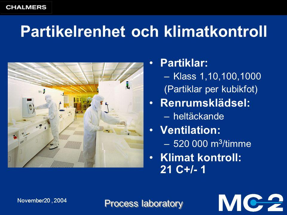 November20, 2004 Process laboratory Partikelrenhet och klimatkontroll Partiklar: –Klass 1,10,100,1000 (Partiklar per kubikfot) Renrumsklädsel: –heltäckande Ventilation: –520 000 m 3 /timme Klimat kontroll: 21 C+/- 1
