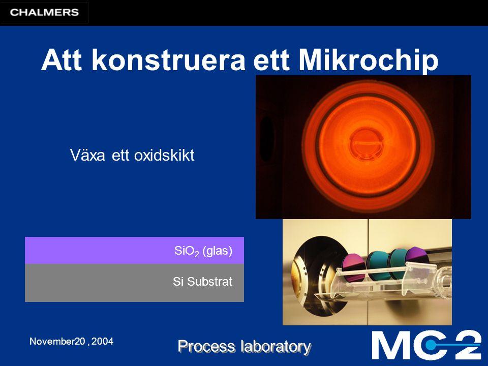 November20, 2004 Process laboratory Att konstruera ett Mikrochip Si Substrat SiO 2 (glas) Växa ett oxidskikt