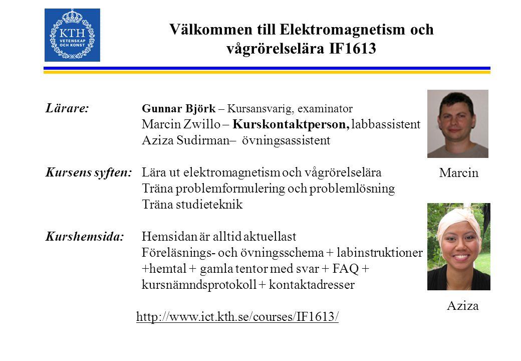 Välkommen till Elektromagnetism och vågrörelselära IF1613 Lärare: Gunnar Björk – Kursansvarig, examinator Marcin Zwillo – Kurskontaktperson, labbassis