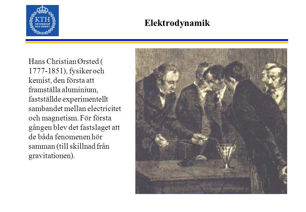 Elektrodynamik Hans Christian Ørsted ( 1777-1851), fysiker och kemist, den första att framställa aluminium, fastställde experimentellt sambandet mella
