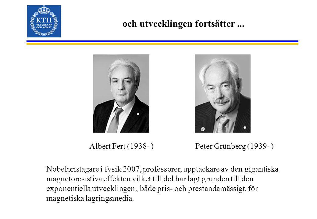 och utvecklingen fortsätter... Albert Fert (1938- ) Nobelpristagare i fysik 2007, professorer, upptäckare av den gigantiska magnetoresistiva effekten