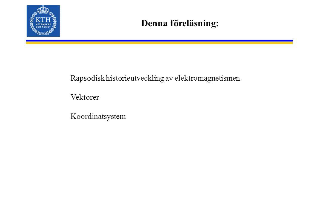 Denna föreläsning: Rapsodisk historieutveckling av elektromagnetismen Vektorer Koordinatsystem
