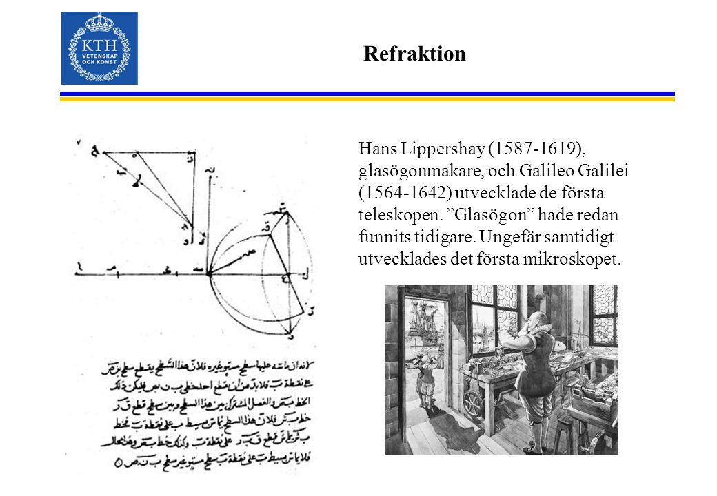 """Refraktion Hans Lippershay (1587-1619), glasögonmakare, och Galileo Galilei (1564-1642) utvecklade de första teleskopen. """"Glasögon"""" hade redan funnits"""
