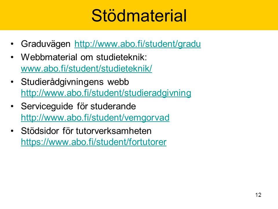 12 Stödmaterial Graduvägen http://www.abo.fi/student/graduhttp://www.abo.fi/student/gradu Webbmaterial om studieteknik: www.abo.fi/student/studieteknik/ www.abo.fi/student/studieteknik/ Studierådgivningens webb http://www.abo.fi/student/studieradgivning http://www.abo.fi/student/studieradgivning Serviceguide för studerande http://www.abo.fi/student/vemgorvad http://www.abo.fi/student/vemgorvad Stödsidor för tutorverksamheten https://www.abo.fi/student/fortutorer https://www.abo.fi/student/fortutorer