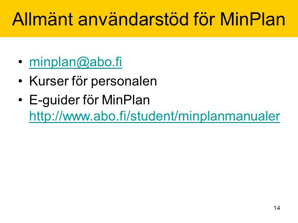 14 Allmänt användarstöd för MinPlan minplan@abo.fi Kurser för personalen E-guider för MinPlan http://www.abo.fi/student/minplanmanualer http://www.abo.fi/student/minplanmanualer