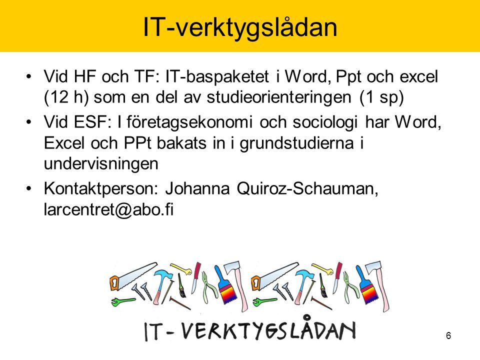 6 IT-verktygslådan Vid HF och TF: IT-baspaketet i Word, Ppt och excel (12 h) som en del av studieorienteringen (1 sp) Vid ESF: I företagsekonomi och sociologi har Word, Excel och PPt bakats in i grundstudierna i undervisningen Kontaktperson: Johanna Quiroz-Schauman, larcentret@abo.fi
