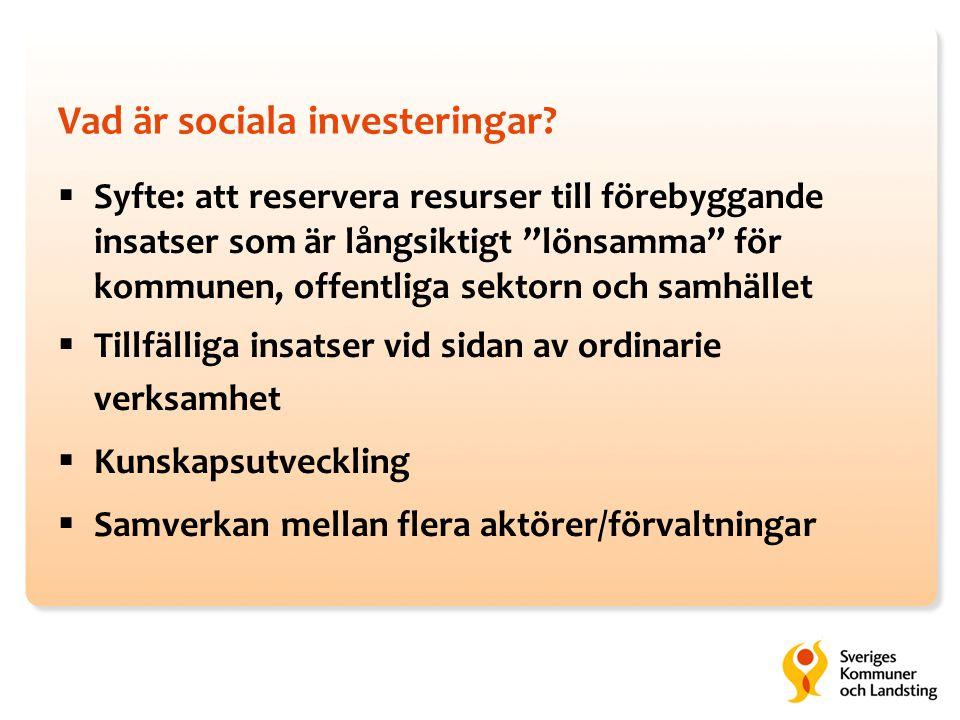 """Vad är sociala investeringar?  Syfte: att reservera resurser till förebyggande insatser som är långsiktigt """"lönsamma"""" för kommunen, offentliga sektor"""