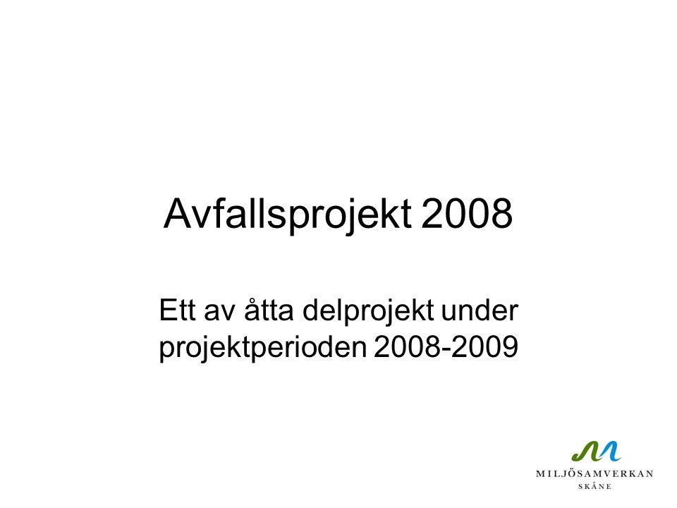 Avfallsprojekt 2008 Ett av åtta delprojekt under projektperioden 2008-2009