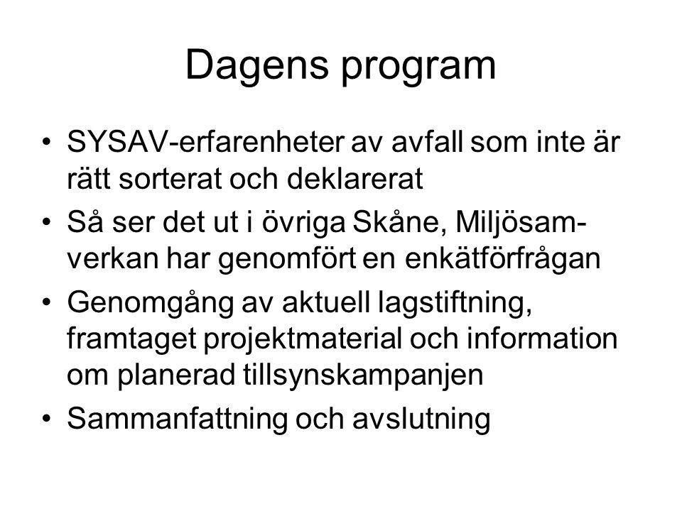 Dagens program SYSAV-erfarenheter av avfall som inte är rätt sorterat och deklarerat Så ser det ut i övriga Skåne, Miljösam- verkan har genomfört en enkätförfrågan Genomgång av aktuell lagstiftning, framtaget projektmaterial och information om planerad tillsynskampanjen Sammanfattning och avslutning