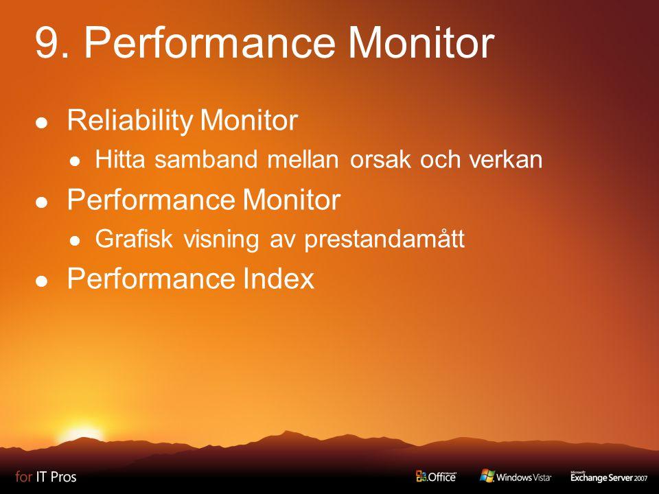 9. Performance Monitor Reliability Monitor Hitta samband mellan orsak och verkan Performance Monitor Grafisk visning av prestandamått Performance Inde