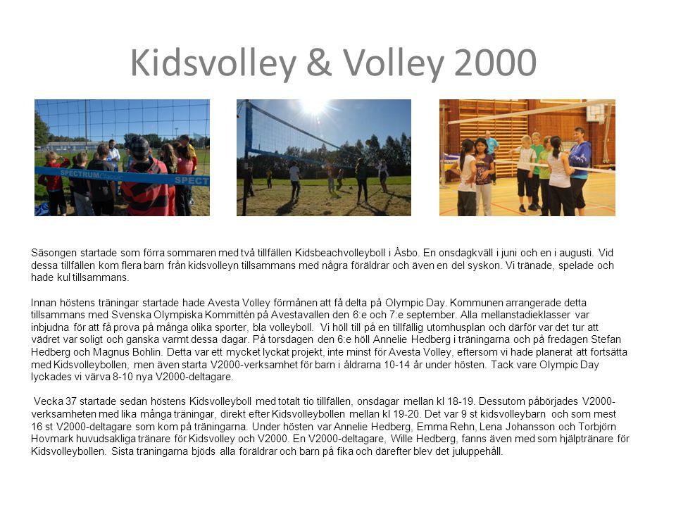 Kidsvolley & Volley 2000 Säsongen startade som förra sommaren med två tillfällen Kidsbeachvolleyboll i Åsbo. En onsdagkväll i juni och en i augusti. V
