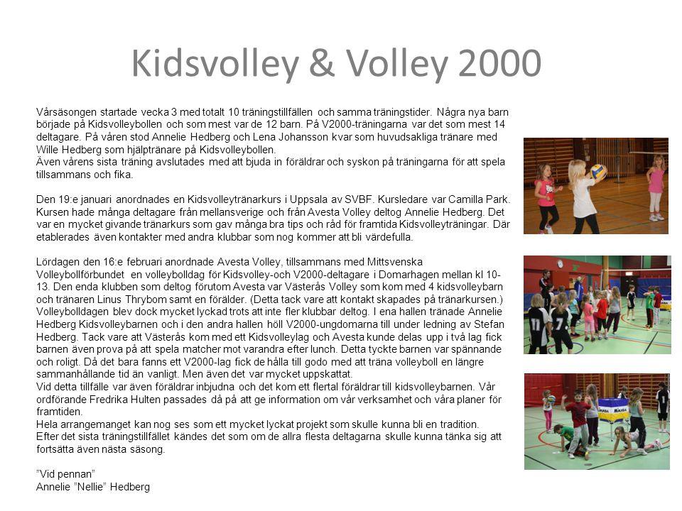 Kidsvolley & Volley 2000 Vårsäsongen startade vecka 3 med totalt 10 träningstillfällen och samma träningstider. Några nya barn började på Kidsvolleybo