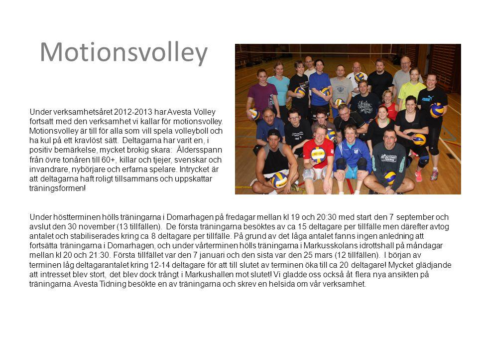 Motionsvolley Under verksamhetsåret 2012-2013 har Avesta Volley fortsatt med den verksamhet vi kallar för motionsvolley. Motionsvolley är till för all