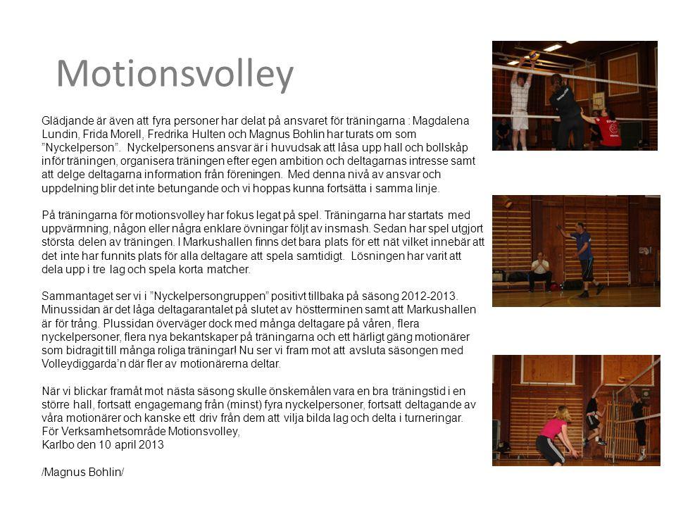 Motionsvolley Glädjande är även att fyra personer har delat på ansvaret för träningarna : Magdalena Lundin, Frida Morell, Fredrika Hulten och Magnus Bohlin har turats om som Nyckelperson .