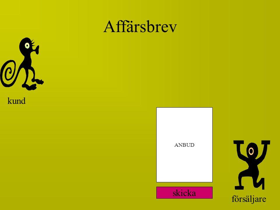 försäljare ANBUD kund Affärsbrev