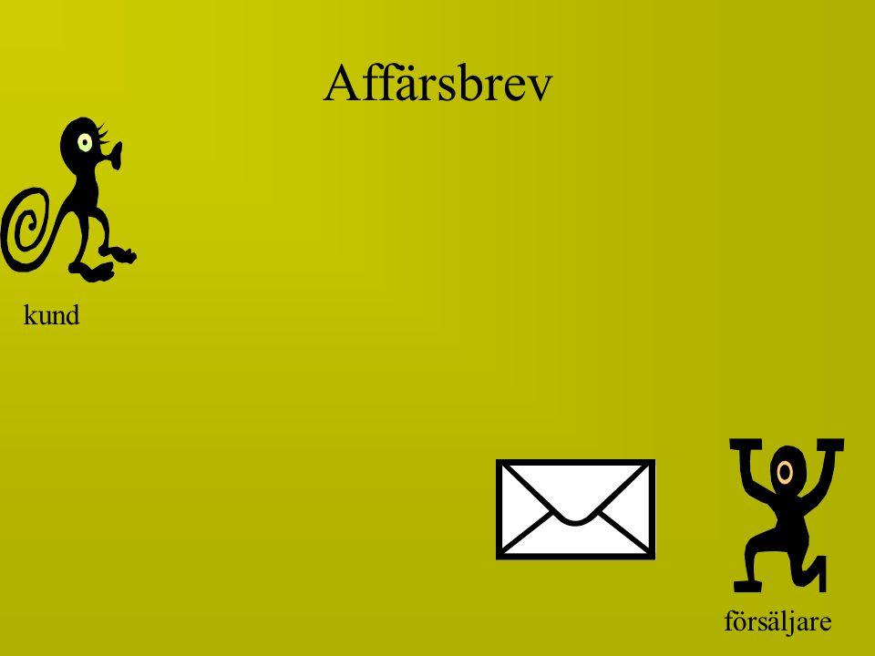 försäljare REKLAMATIONS- SVAR skicka kund Affärsbrev