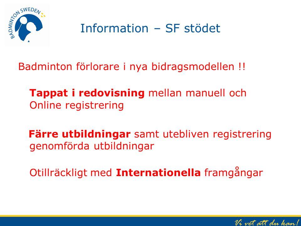 Information – SF stödet Badminton förlorare i nya bidragsmodellen !.