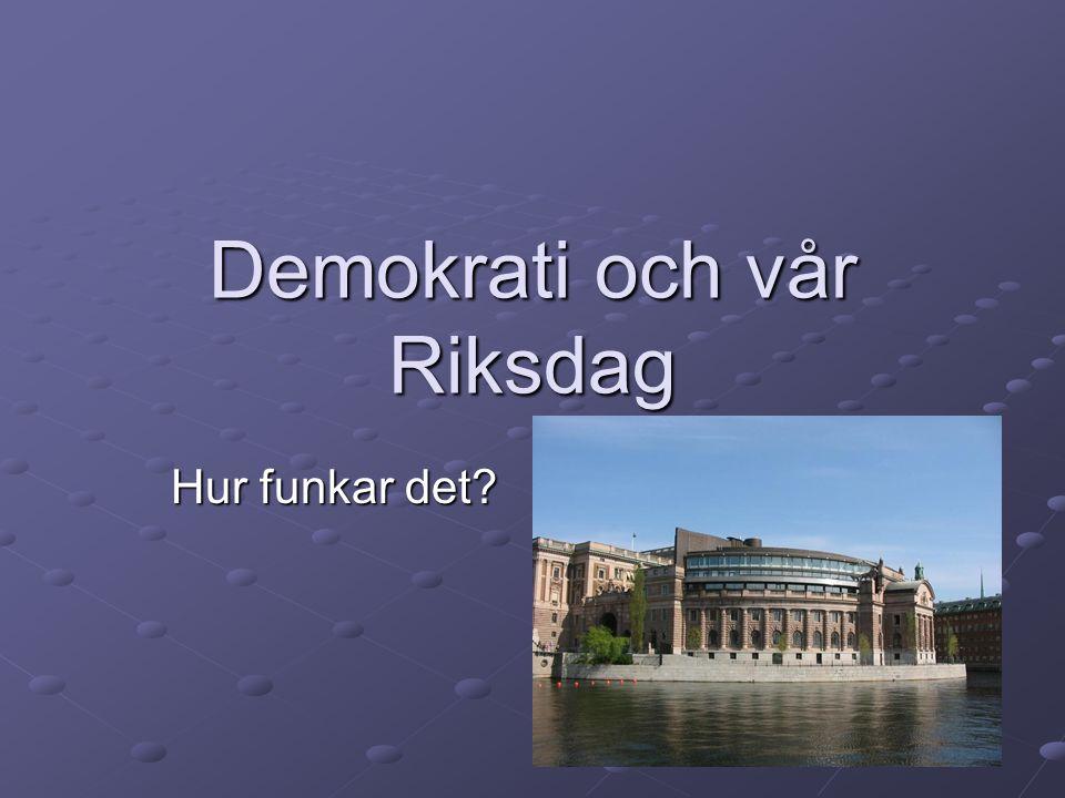 Demokrati och vår Riksdag Hur funkar det?