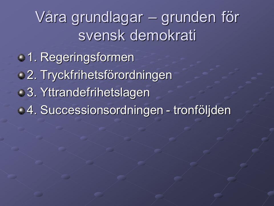 Våra grundlagar – grunden för svensk demokrati 1. Regeringsformen 2. Tryckfrihetsförordningen 3. Yttrandefrihetslagen 4. Successionsordningen - tronfö