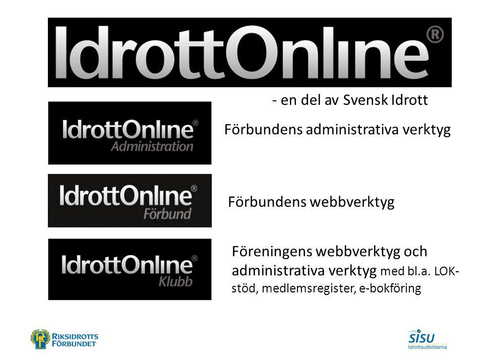 - en del av Svensk Idrott Förbundens administrativa verktyg Förbundens webbverktyg Föreningens webbverktyg och administrativa verktyg med bl.a.