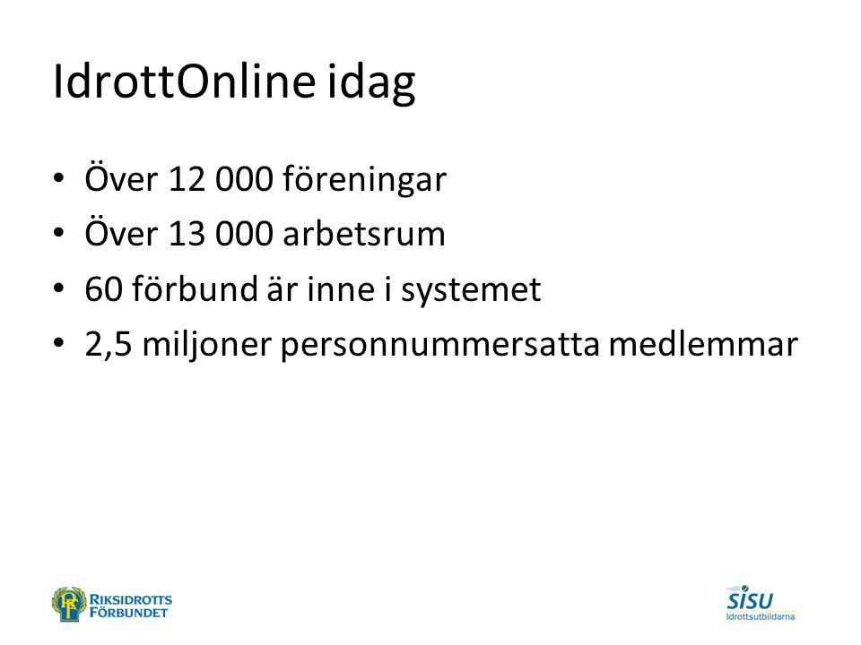 IdrottOnline idag Över 12 000 föreningar Över 13 000 arbetsrum 60 förbund är inne i systemet 2,5 miljoner personnummersatta medlemmar