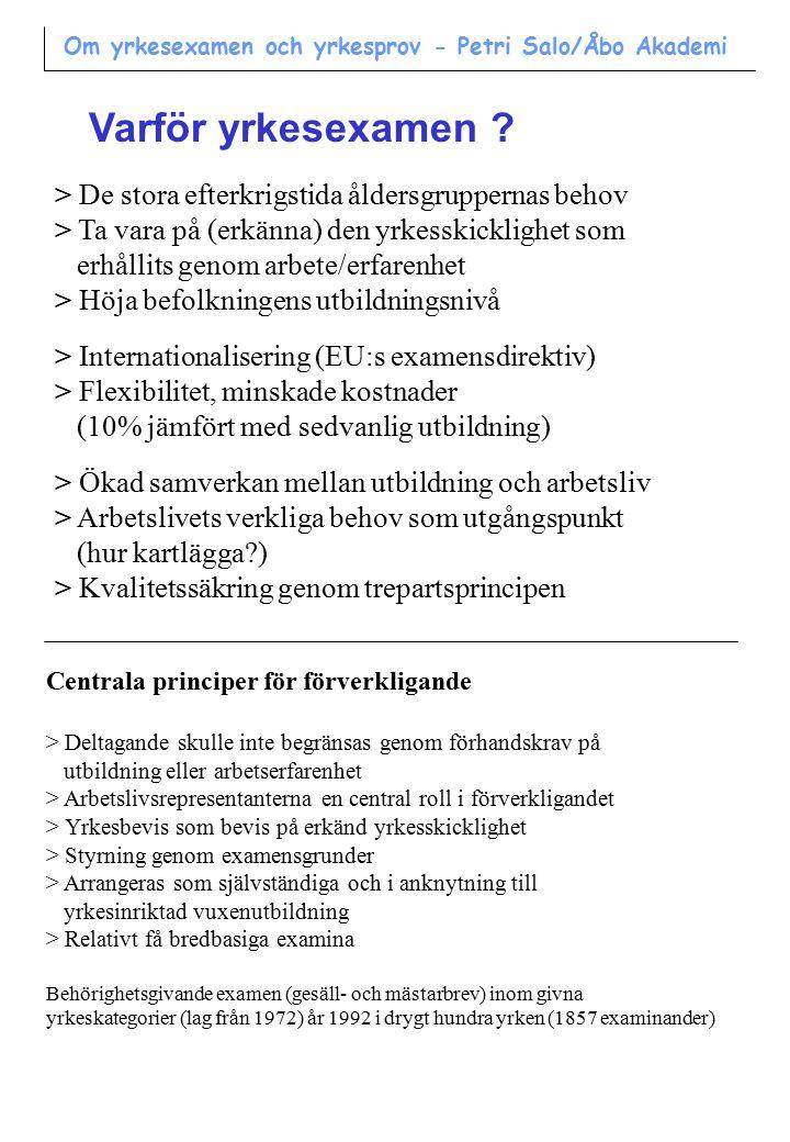 Trepartsprincipen som grund för kvalitetssäkring gällande yrkesskicklighet Lärare Arbets- givare Arbets- tagare Bedömning av yrkesskicklighet Om yrkesexamen och yrkesprov - Petri Salo/Åbo Akademi