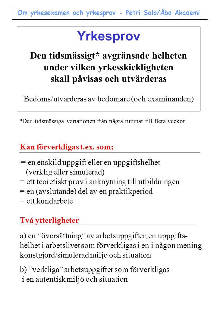 Om yrkesexamen och yrkesprov Petri Salo/Åbo Akademi Maj 2000 Innehåll: Systemet med yrkesexamen Yrkesprov Utvärdering av yrkesskicklighet www.oph.fi/nayttotutkinnot/ www.oph.fi/oppisopimus/ www.mol.fi/ Källor: > Hallituksen esitys Eduskunnalle ammattitutkintoja koskevaksi lainsäädännöksi (våren 1993) > Haltia, P.