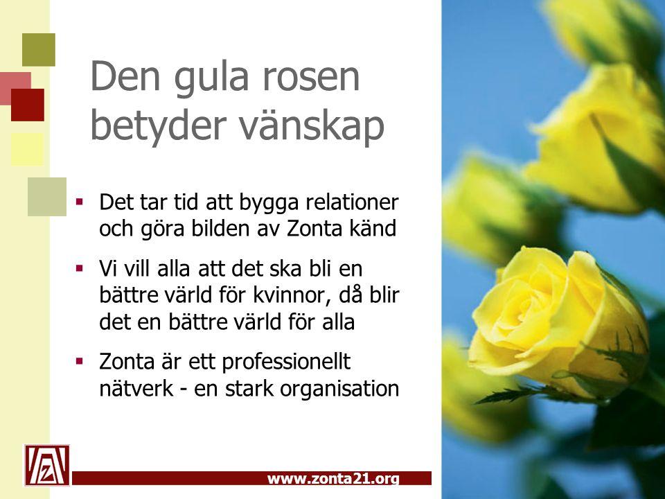 www.zonta21.org Den gula rosen betyder vänskap  Det tar tid att bygga relationer och göra bilden av Zonta känd  Vi vill alla att det ska bli en bätt