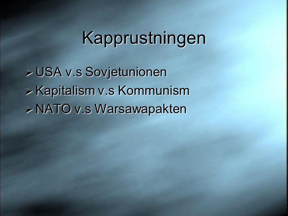 Kapprustningen  USA v.s Sovjetunionen  Kapitalism v.s Kommunism  NATO v.s Warsawapakten  USA v.s Sovjetunionen  Kapitalism v.s Kommunism  NATO v