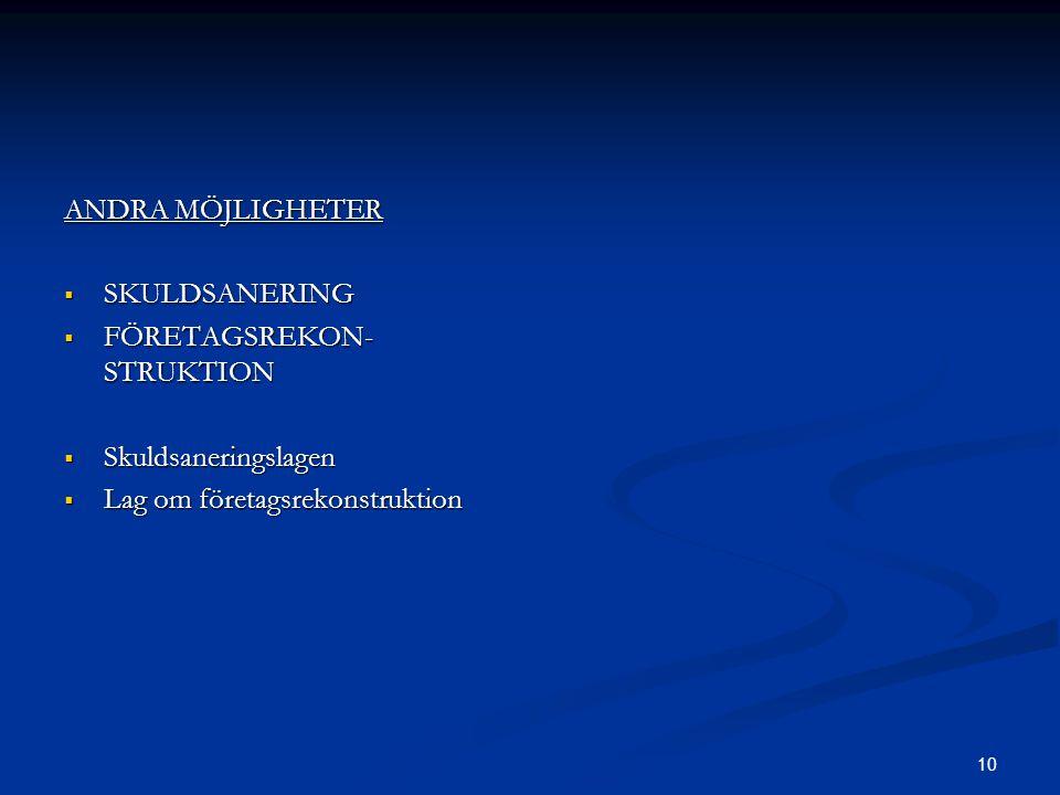 10 ANDRA MÖJLIGHETER  SKULDSANERING  FÖRETAGSREKON- STRUKTION  Skuldsaneringslagen  Lag om företagsrekonstruktion