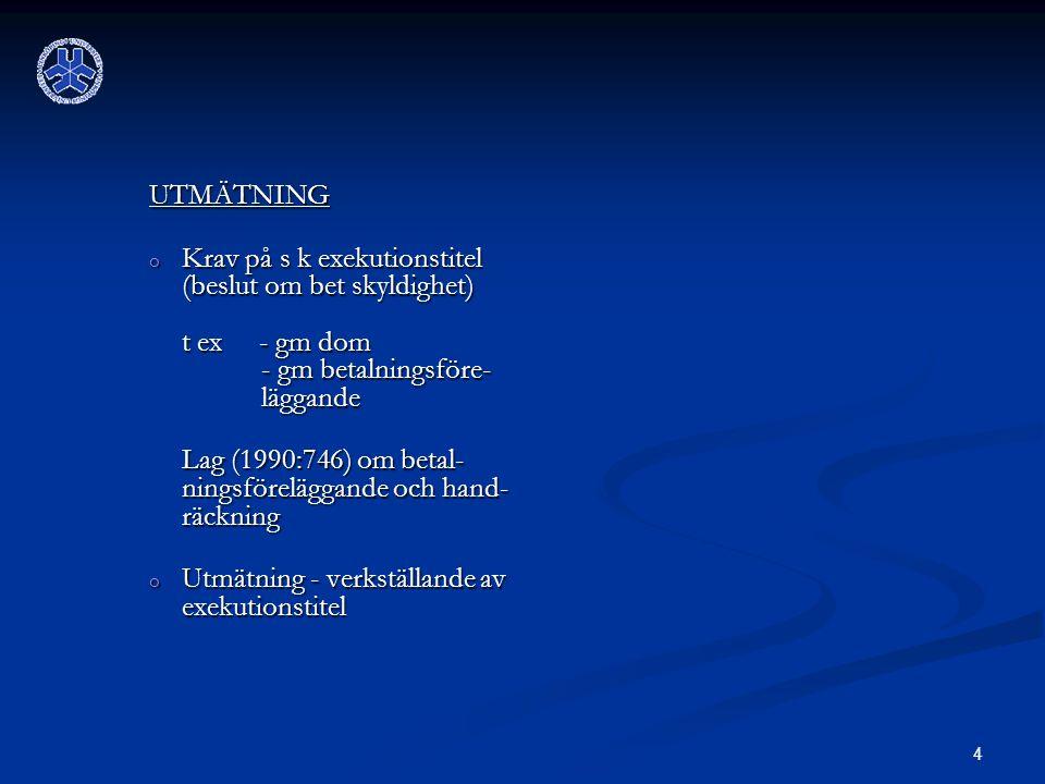 4 UTMÄTNING o Krav på s k exekutionstitel (beslut om bet skyldighet) t ex - gm dom - gm betalningsföre- läggande Lag (1990:746) om betal- ningsföreläggande och hand- räckning Lag (1990:746) om betal- ningsföreläggande och hand- räckning o Utmätning - verkställande av exekutionstitel