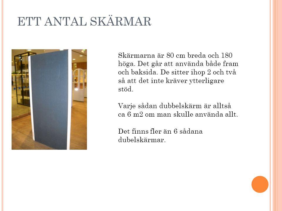 ETT ANTAL SKÄRMAR Skärmarna är 80 cm breda och 180 höga.
