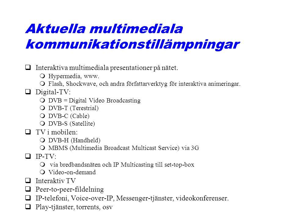 Aktuella multimediala kommunikationstillämpningar qInteraktiva multimediala presentationer på nätet. mHypermedia, www. mFlash, Shockwave, och andra fö