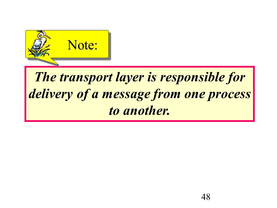 48 The transport layer is responsible for delivery of a message from one process to another. Note: