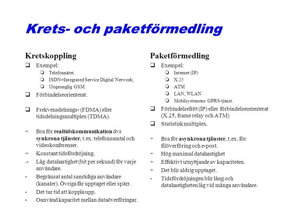 Krets- och paketförmedling Kretskoppling qExempel: mTelefonnätet.