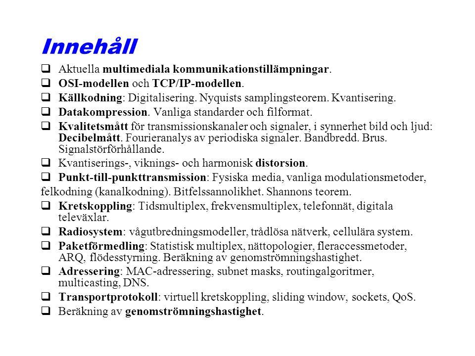 Innehåll qAktuella multimediala kommunikationstillämpningar. qOSI-modellen och TCP/IP-modellen. qKällkodning: Digitalisering. Nyquists samplingsteorem