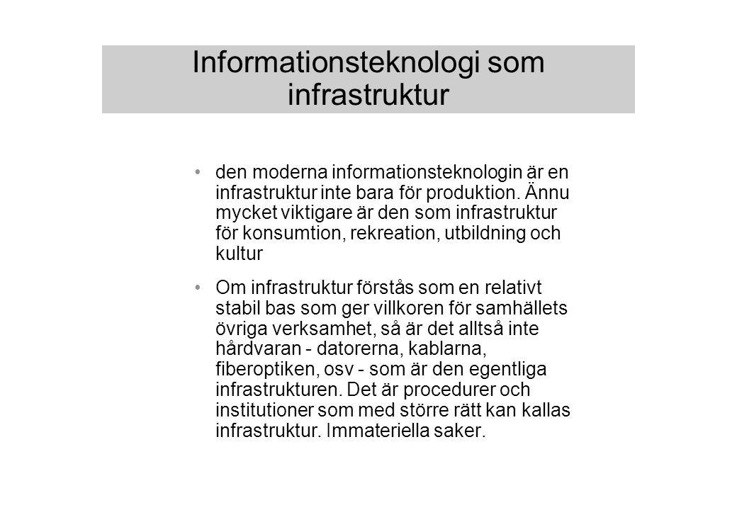 Informationsteknologi som infrastruktur den moderna informationsteknologin är en infrastruktur inte bara för produktion.