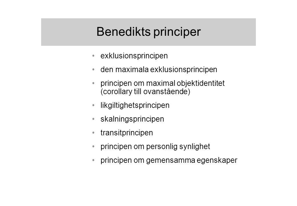 Benedikts principer exklusionsprincipen den maximala exklusionsprincipen principen om maximal objektidentitet (corollary till ovanstående) likgiltighetsprincipen skalningsprincipen transitprincipen principen om personlig synlighet principen om gemensamma egenskaper