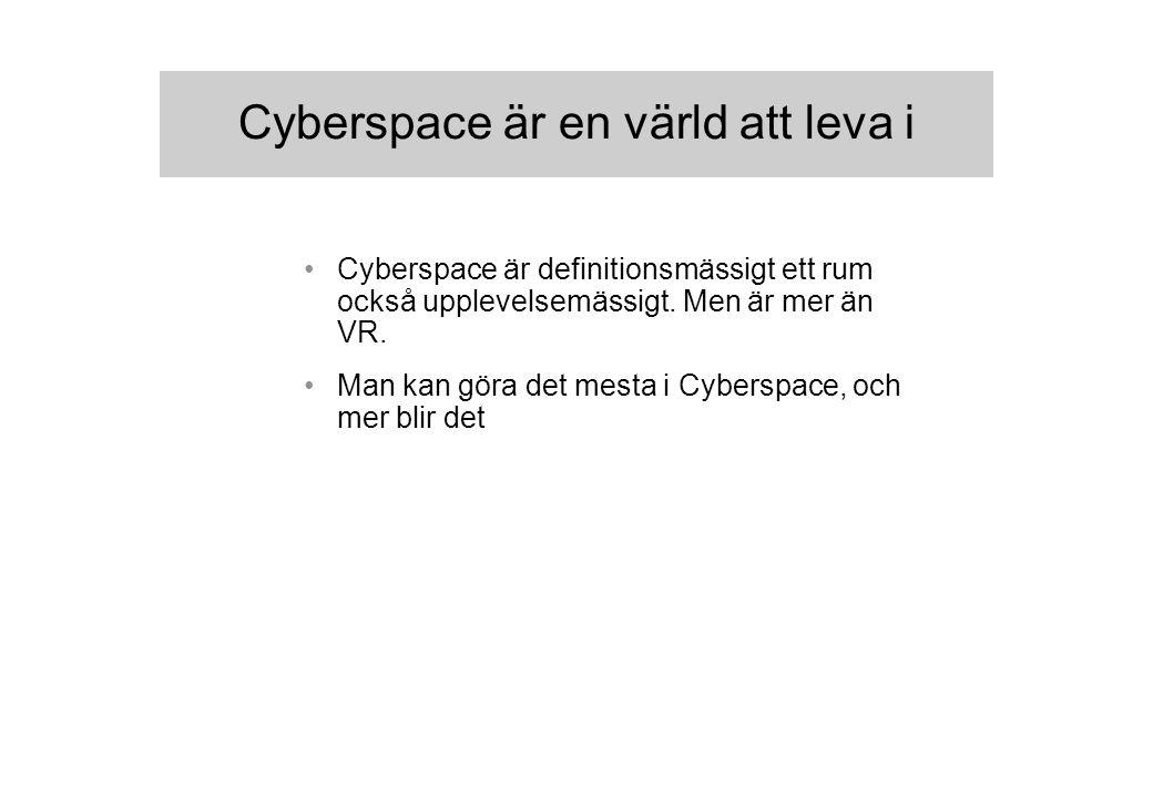 Cyberspace är en värld att leva i Cyberspace är definitionsmässigt ett rum också upplevelsemässigt.