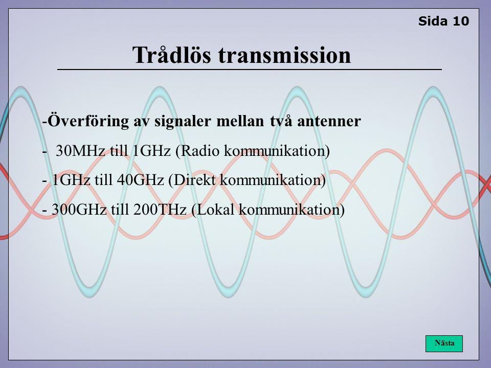 Trådlös transmission -Överföring av signaler mellan två antenner - 30MHz till 1GHz (Radio kommunikation) - 1GHz till 40GHz (Direkt kommunikation) - 300GHz till 200THz (Lokal kommunikation) Sida 10 Nästa