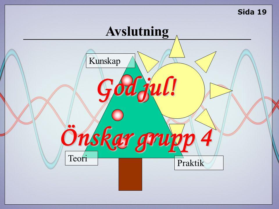 Avslutning Sida 19 God jul! Önskar grupp 4 Teori Kunskap Praktik